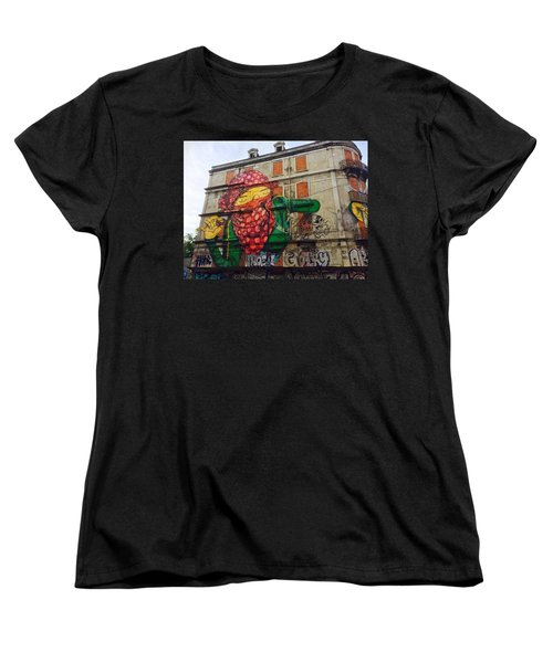 Women's T-Shirt (Standard Cut) featuring the painting Globe Building Art Painting by Sheila Mcdonald