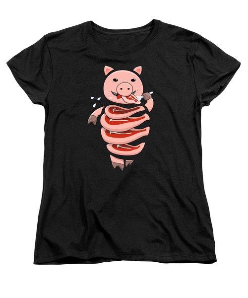 Gluttonous Self-eating Pig Women's T-Shirt (Standard Cut) by Boriana Giormova