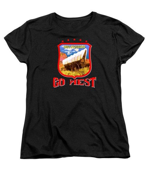Go West Pioneer - Tshirt Design Women's T-Shirt (Standard Cut) by Art America Gallery Peter Potter