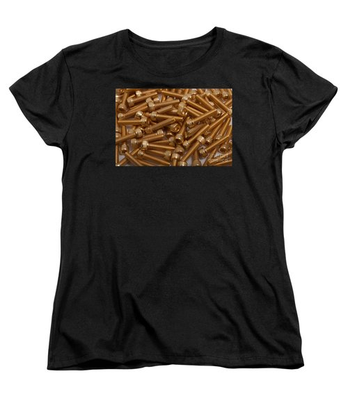 Gold Plated Screws Women's T-Shirt (Standard Cut) by Gunter Nezhoda