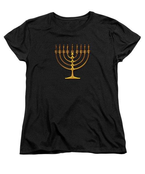 Golden 3-d Look Menorah  Women's T-Shirt (Standard Cut) by Rose Santuci-Sofranko