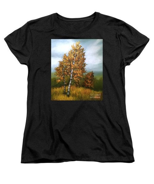 Women's T-Shirt (Standard Cut) featuring the painting Golden Birch by Inese Poga