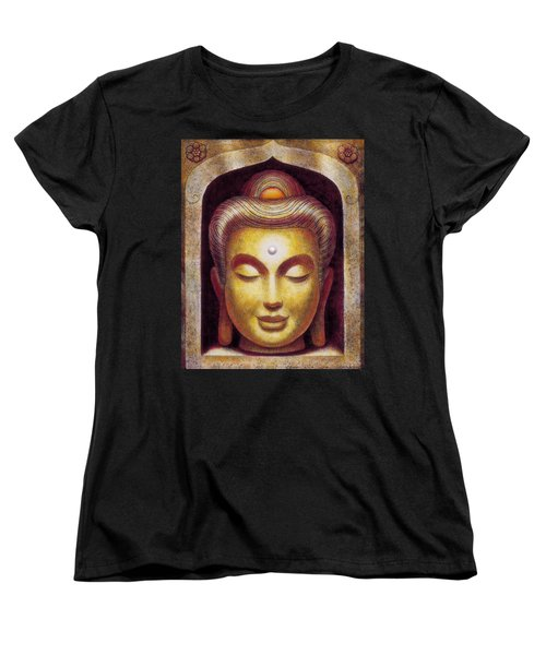 Women's T-Shirt (Standard Cut) featuring the painting Golden Buddha by Sue Halstenberg
