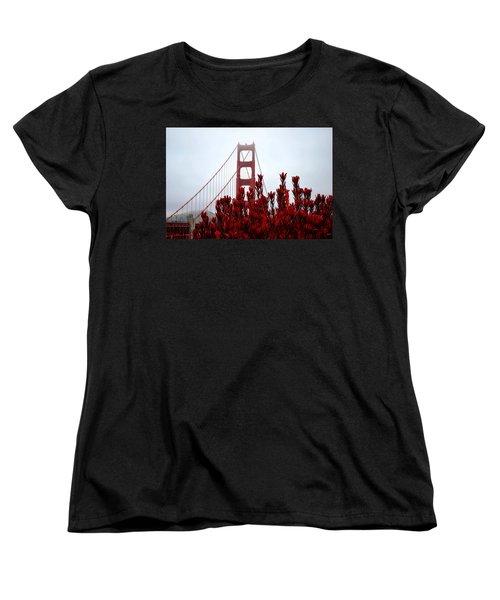 Golden Gate Bridge Red Flowers Women's T-Shirt (Standard Cut) by Matt Harang