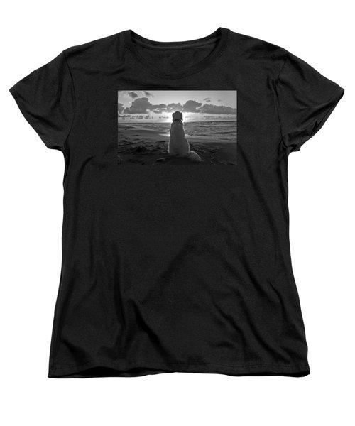 Golden Labrador Watching Sunset Women's T-Shirt (Standard Cut) by Sumit Mehndiratta