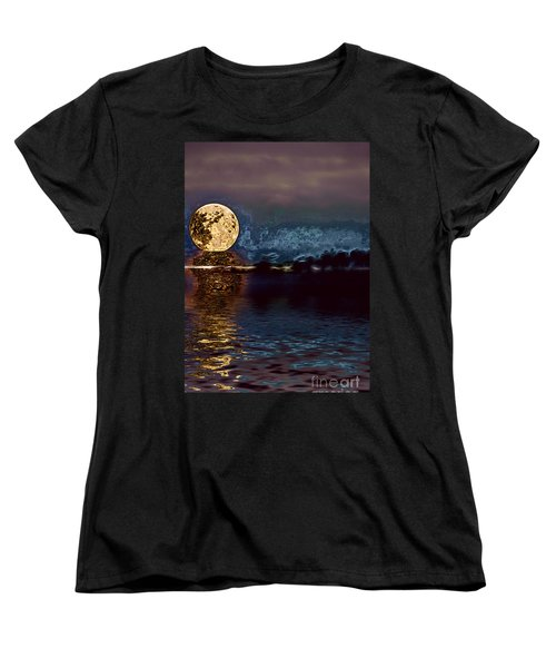 Golden Moon Women's T-Shirt (Standard Cut) by Elaine Hunter