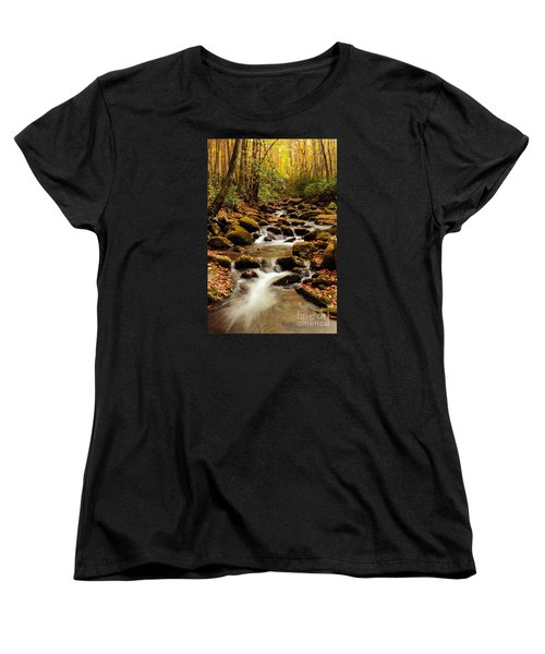 Women's T-Shirt (Standard Cut) featuring the photograph Golden Stream In The Great Smoky Mountains by Debbie Green