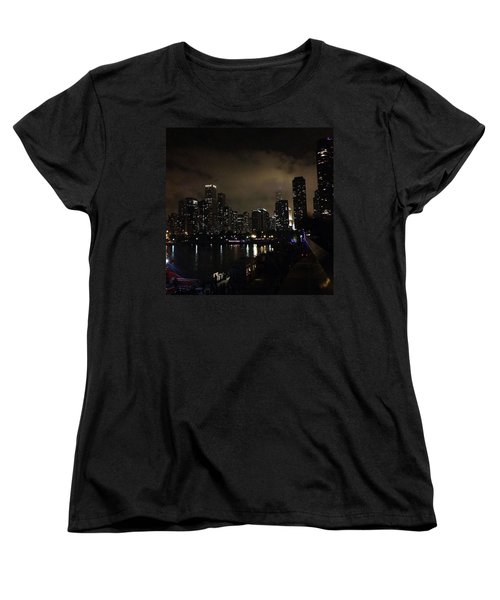 Chicago Skyline By Night Women's T-Shirt (Standard Cut) by Chantal Mantovani