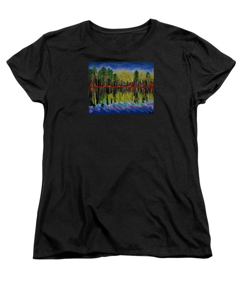 Women's T-Shirt (Standard Cut) featuring the painting Grant's Lake Reflections by Kathleen Sartoris