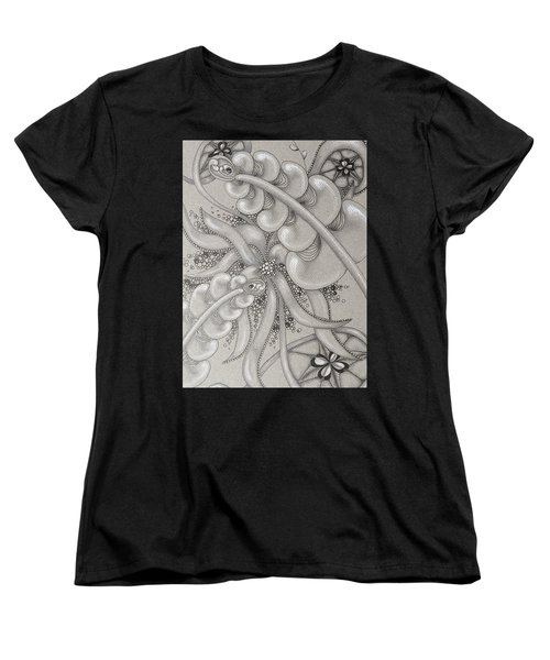 Gray Garden Explosion Women's T-Shirt (Standard Cut) by Jan Steinle