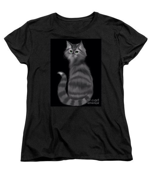 Women's T-Shirt (Standard Cut) featuring the painting Gray Striped Cat by Nick Gustafson