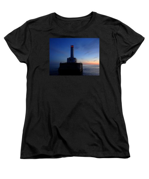 Grays Reef Lighthouse At Dusk Women's T-Shirt (Standard Cut) by Keith Stokes