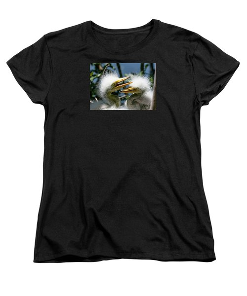 Women's T-Shirt (Standard Cut) featuring the photograph Great Egret Chicks by Brian Tarr