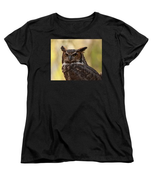 Great Horned Owl In A Tree 1 Women's T-Shirt (Standard Cut) by Chris Flees
