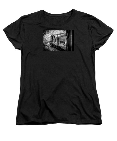 Great Smokey Mountain Railroad Looking Out At The Train In Black And White Women's T-Shirt (Standard Cut) by Kelly Hazel