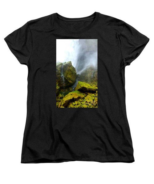 Green Falls Women's T-Shirt (Standard Cut) by Raymond Earley