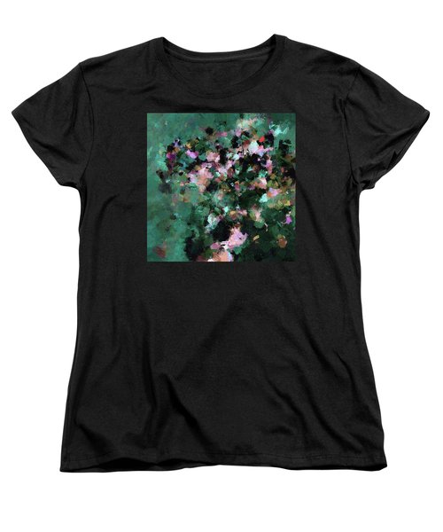 Women's T-Shirt (Standard Cut) featuring the painting Green Landscape Painting In Minimalist And Abstract Style by Ayse Deniz