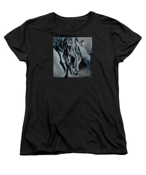 Grey Horse Women's T-Shirt (Standard Cut) by Maris Sherwood