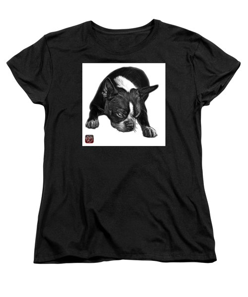 Greyscale Boston Terrier Art - 8384 - Wb Women's T-Shirt (Standard Cut) by James Ahn
