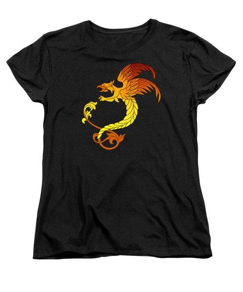Griffin Griffon Gryphon In Flaming Colours Women's T-Shirt (Standard Cut) by Heidi De Leeuw