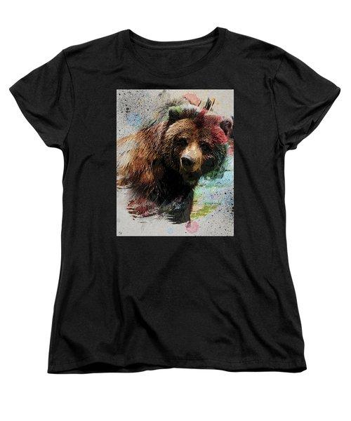 Grizzly Bear Art Women's T-Shirt (Standard Cut) by Ron Grafe