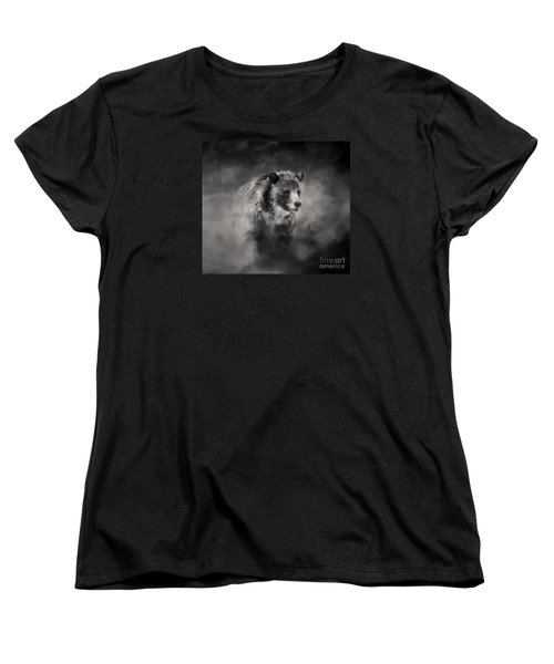 Grizzly Black And White In Clouds Women's T-Shirt (Standard Cut) by Clare VanderVeen