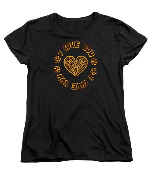 Groovy Golden Heart And I Love You Women's T-Shirt (Standard Cut) by Rose Santuci-Sofranko
