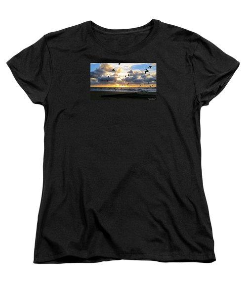 Women's T-Shirt (Standard Cut) featuring the photograph Gulls Take Wing by Robert Banach
