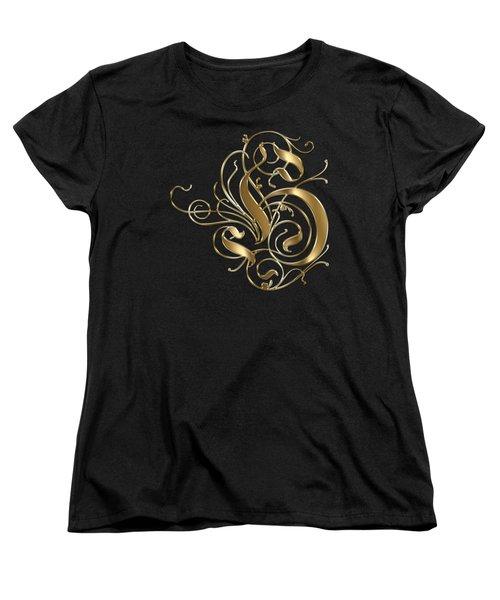H Ornamental Letter Gold Typography Women's T-Shirt (Standard Cut) by Georgeta Blanaru