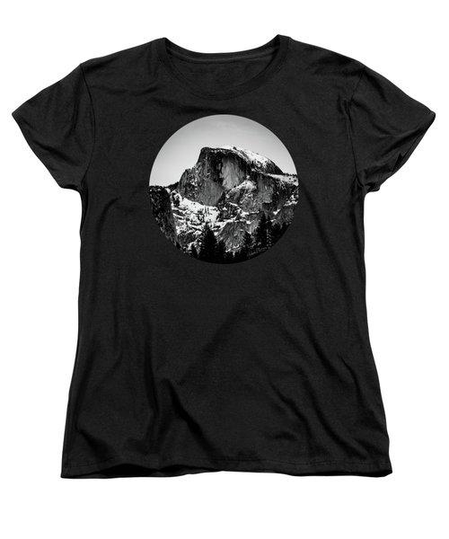 Half Dome Aglow, Black And White Women's T-Shirt (Standard Cut) by Adam Morsa