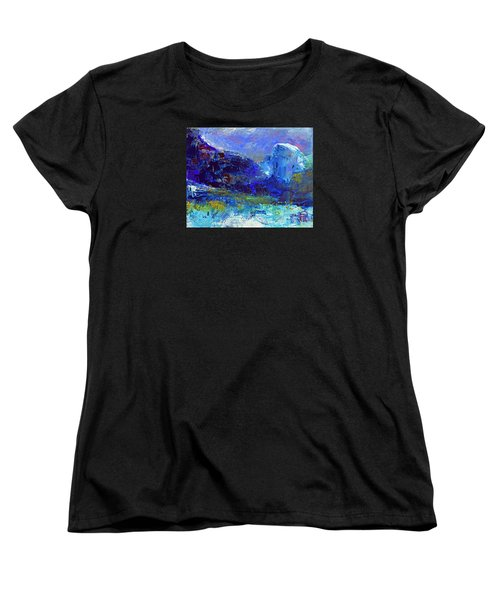 Women's T-Shirt (Standard Cut) featuring the painting Half Dome Winter by Walter Fahmy