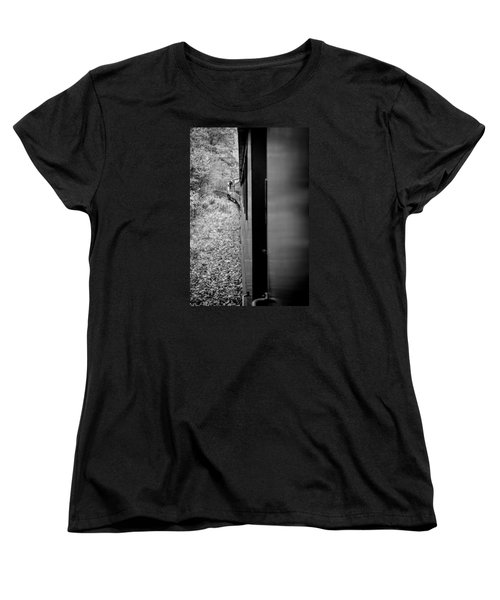 Half In Half Out Of The Train In The Mountains Women's T-Shirt (Standard Cut) by Kelly Hazel