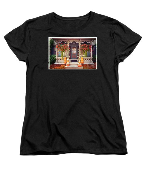 Halloween In A Small Town Women's T-Shirt (Standard Cut) by Mary Machare