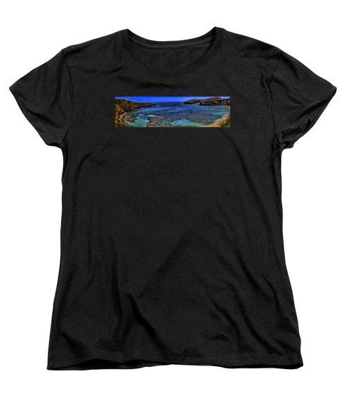 Women's T-Shirt (Standard Cut) featuring the photograph Hanauma Bay Panorama by Ellen Heaverlo