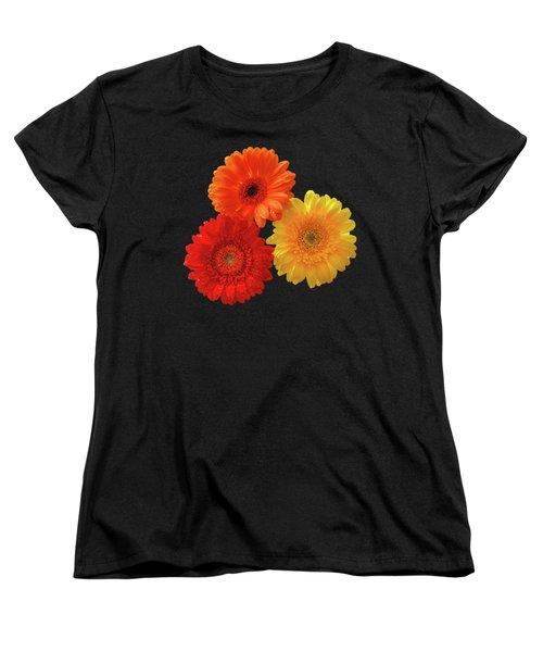 Happiness - Orange Red And Yellow Gerbera On Black Women's T-Shirt (Standard Cut) by Gill Billington