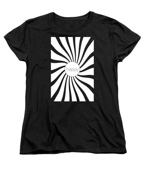 Happy - Black And White Swirl Women's T-Shirt (Standard Fit)