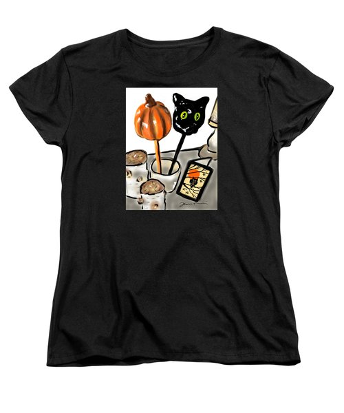 Women's T-Shirt (Standard Cut) featuring the painting Happy Halloween by Jean Pacheco Ravinski
