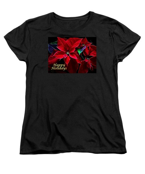 Happy Holidays Women's T-Shirt (Standard Cut) by Sandy Keeton
