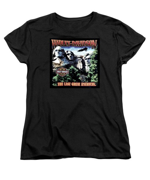 Women's T-Shirt (Standard Cut) featuring the digital art Harley Davidson The Last Great American by Gina Dsgn