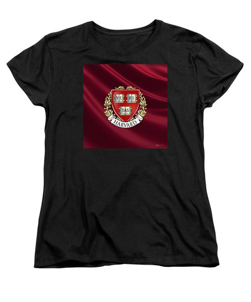 Harvard University Seal Over Colors Women's T-Shirt (Standard Cut) by Serge Averbukh