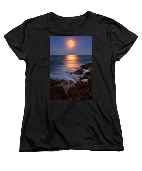Harvest Moon Rising Over Beach Rocks On Hutchinson Island Florida During Twilight. Women's T-Shirt (Standard Cut) by Justin Kelefas