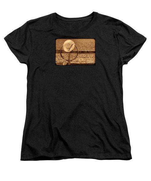 Hat And Lasso On A Fence Women's T-Shirt (Standard Cut) by American West Legend By Olivier Le Queinec