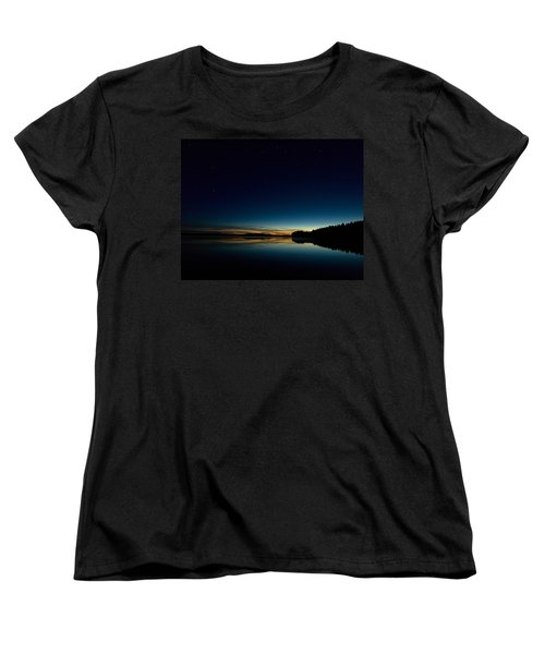 Women's T-Shirt (Standard Cut) featuring the photograph Haukkajarvi By Night With Ursa Major 1 by Jouko Lehto