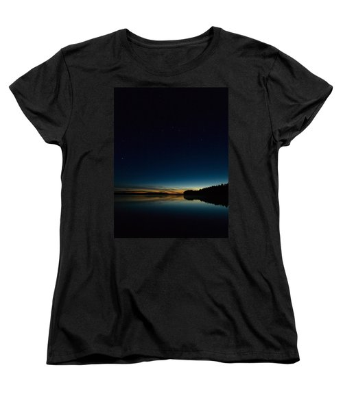Women's T-Shirt (Standard Cut) featuring the photograph Haukkajarvi By Night With Ursa Major 2 by Jouko Lehto
