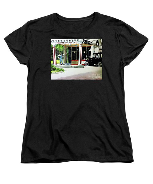 Women's T-Shirt (Standard Cut) featuring the painting Hawkeye Oil Co by Tom Riggs