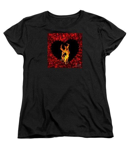 Heart On Fire  Women's T-Shirt (Standard Cut)