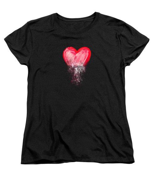 Heart Painted From Tangle Of Scribbles Women's T-Shirt (Standard Cut) by Michal Boubin