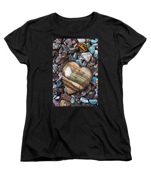 Heart Stone Women's T-Shirt (Standard Cut) by Garry Gay