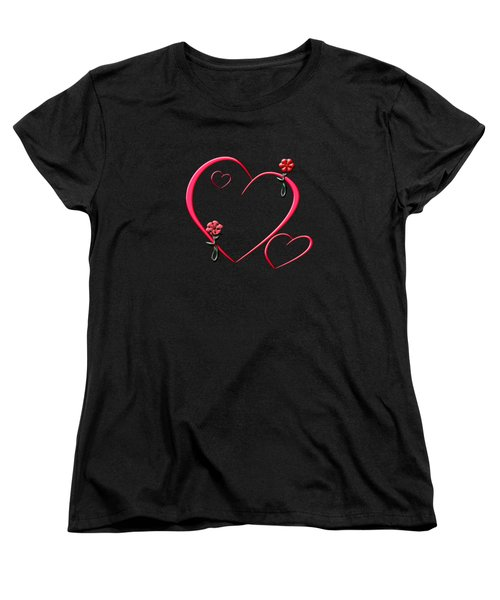 Hearts And Flowers Women's T-Shirt (Standard Cut) by Judy Hall-Folde