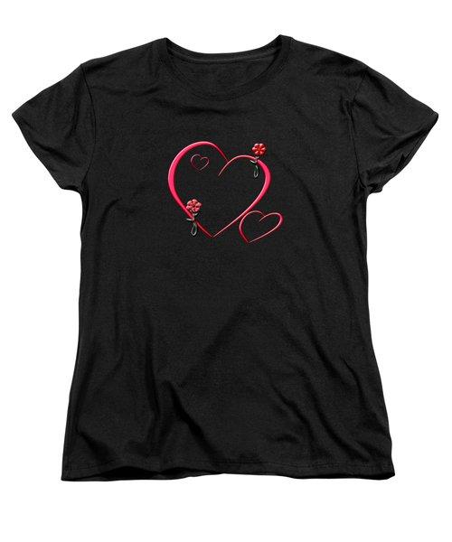 Hearts And Flowers Women's T-Shirt (Standard Cut)